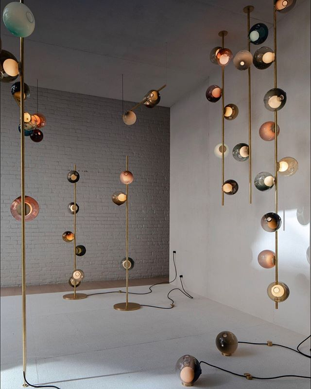 Bocci On Instagram Our Full Stem Series Collection In Brass With 28 Series Pendants On Display In The Front Window Front Windows Bocci Lighting Light Of Life