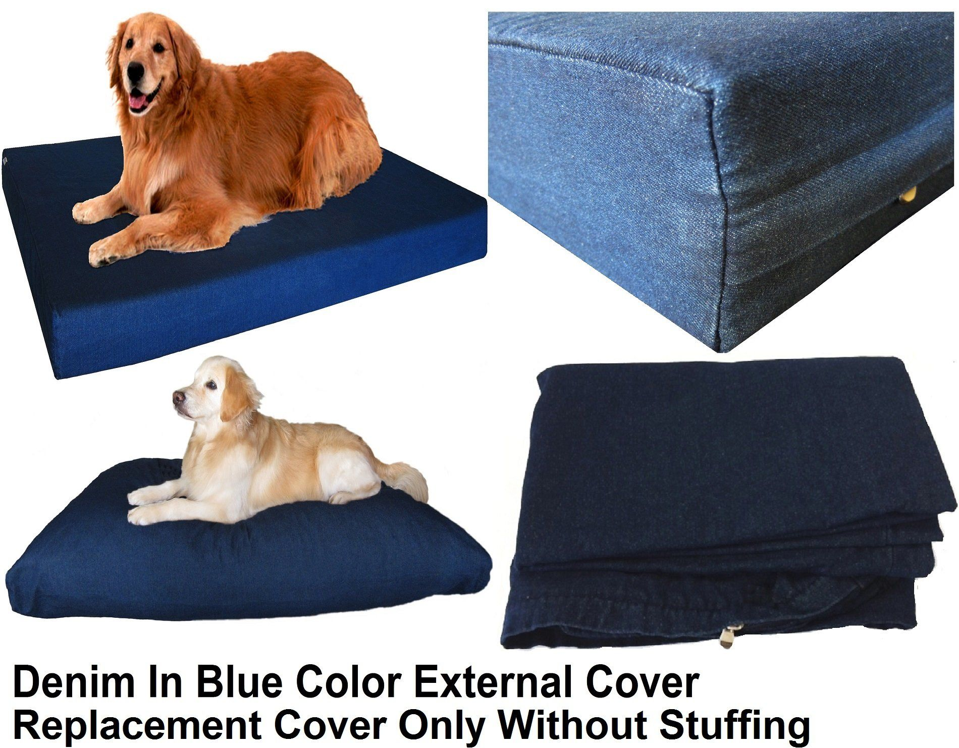 Dogbed4less XXL 55X37X4 Inches Blue Color Denim Jean Dog