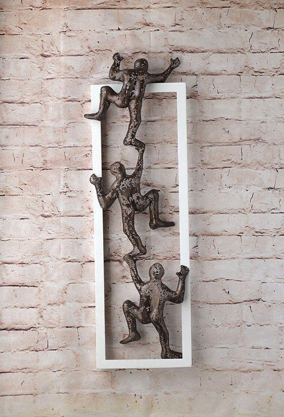 Climbing Men Framed Art Wire Mesh Sculpture Wall Decor Metal
