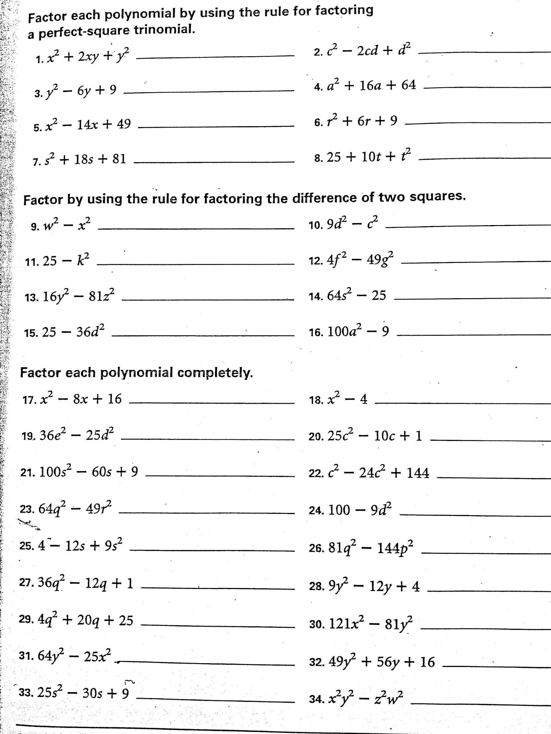 Algebra 1 Factoring Worksheet Difference Two Squares Homework Clipart 50 Amazing In 2020 Algebra 1 Algebra Worksheet Template