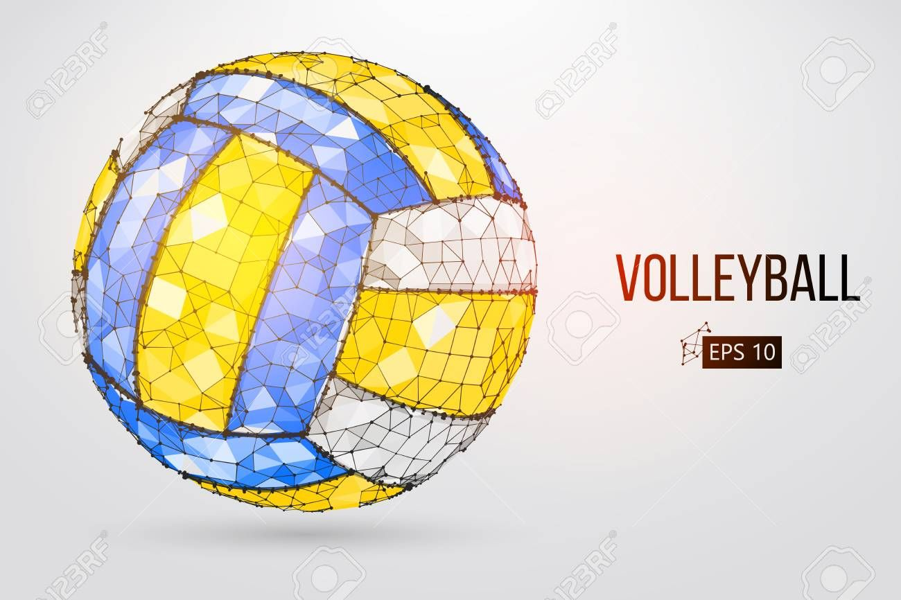 Silhouette Of A Volleyball Ball With Dots Lines Triangles Text Color Effects And Background On A Separate Layers Illustration A Color Effect Dots Color