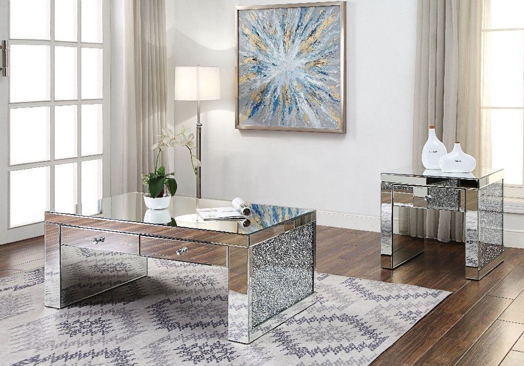 Noralie Coffee Table In Mirrored Faux Diamonds Acme Furniture