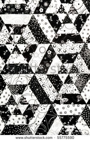 black and white quilt patterns | Homemade quilt in black and white pattern - stock photo
