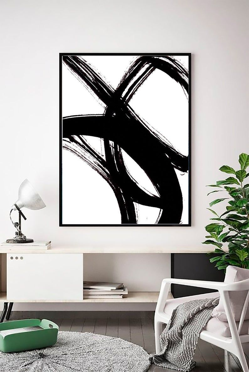 Abstract Wall art, Abstract Print, Black White Abs