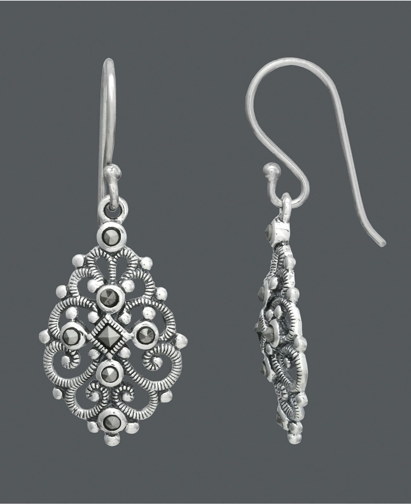 Genevieve Grace Sterling Silver Earrings Marcasite Filigree Teardrop Macy S