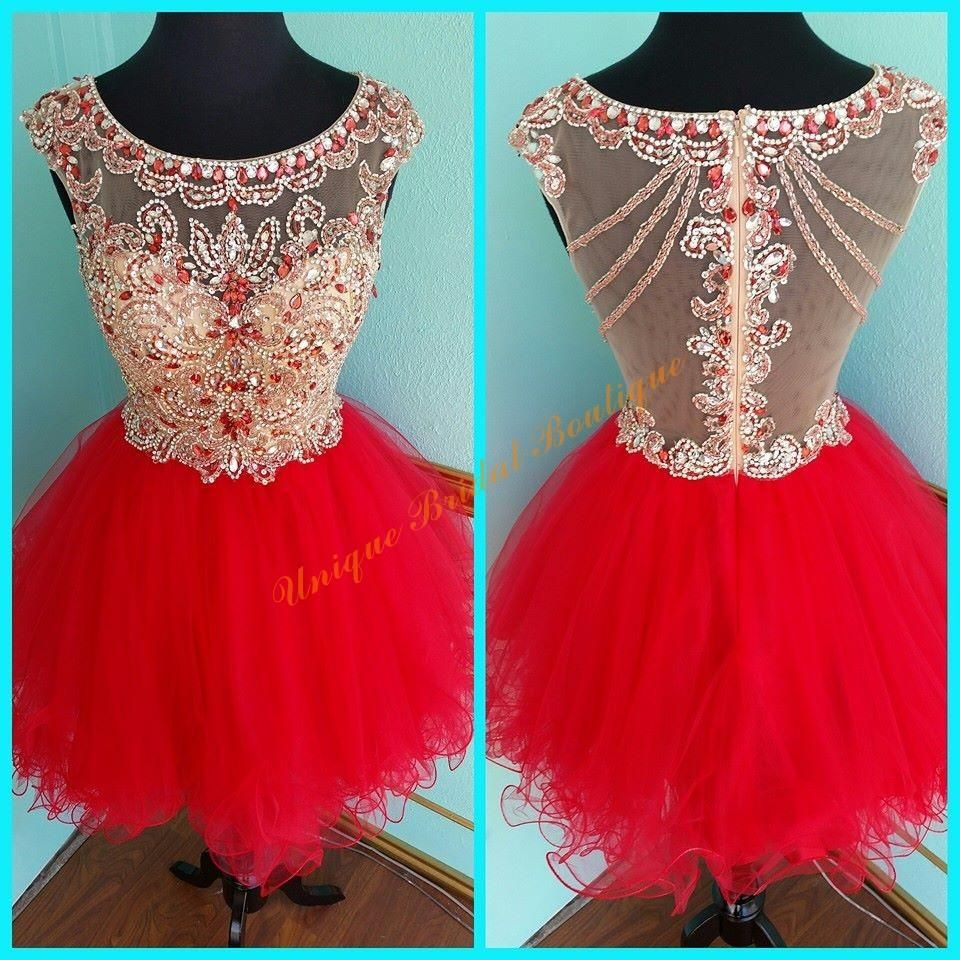 2016 Red Homecoming Dresses With Zipper Back And Scoop Neckline Real  Pictures Tiered Beaded Tulle Ball Gown Short Sweet 16 Gowns Custom Short Formal  Dresses ... ddb3919dc