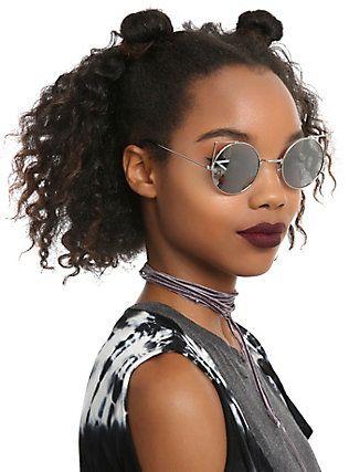 8c83c15482d Silver Mirror Cut-Out Round Cat Sunglasses