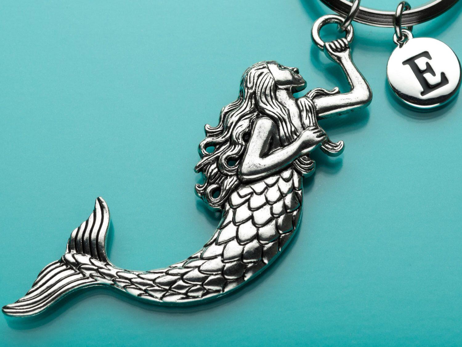 Huge Mermaid Keychain, Mermaid Key Ring, Sea Creature, Initial Keychain, Personalized Keychain, Custom Keychain, Charm Keychain, H9 by promisemeeverything2 on Etsy https://www.etsy.com/listing/226946560/huge-mermaid-keychain-mermaid-key-ring