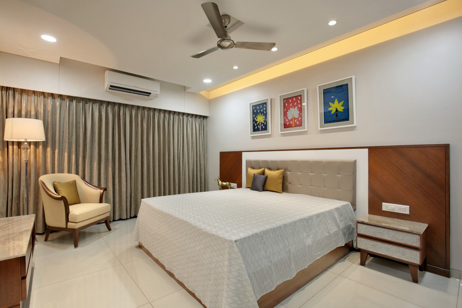 3 Bhk Flat Interiors The Oak Woods With Images Modern Bedroom Interior Bedroom False Ceiling Design Flat Interior