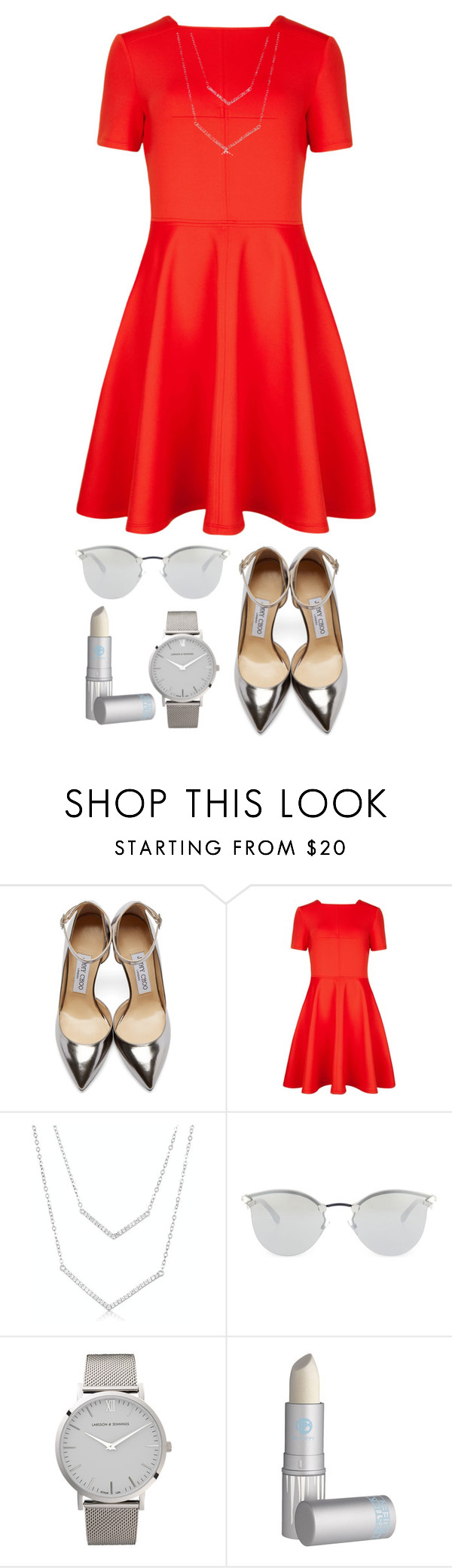 """""""Untitled #32"""" by cerys-james ❤ liked on Polyvore featuring Jimmy Choo, Ted Baker, Fendi, Larsson & Jennings and Lipstick Queen"""