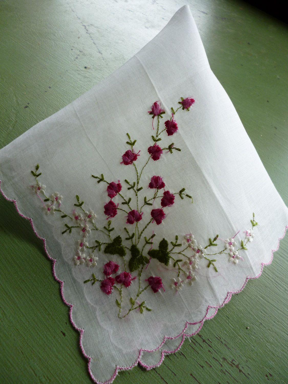 """Fine Cotton Batiste Hand Embroidered Handkerchief// Hankie White FLORAL 12/"""" NOS"""