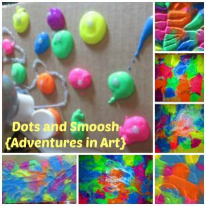 Dots and Smoosh {Adventures in Art} use backs of cardboard boxes, discount school supply paint and create some textured masterpieces!