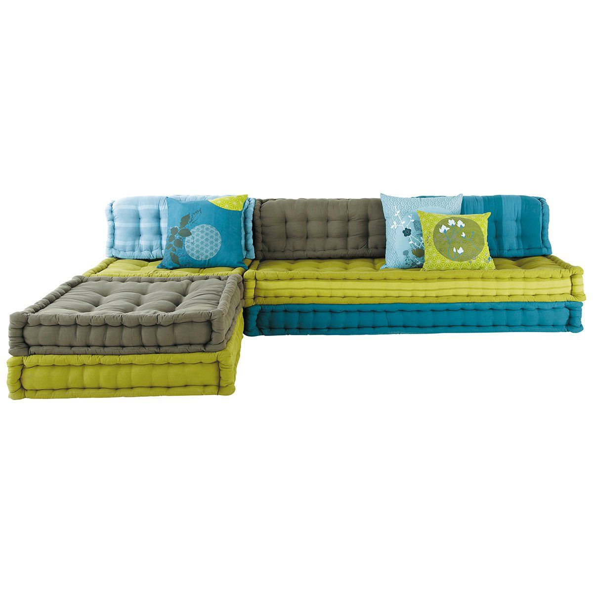 Corner Sofa Bed Green: 6 Seater Cotton Modular Corner Day Bed In Blue And Green