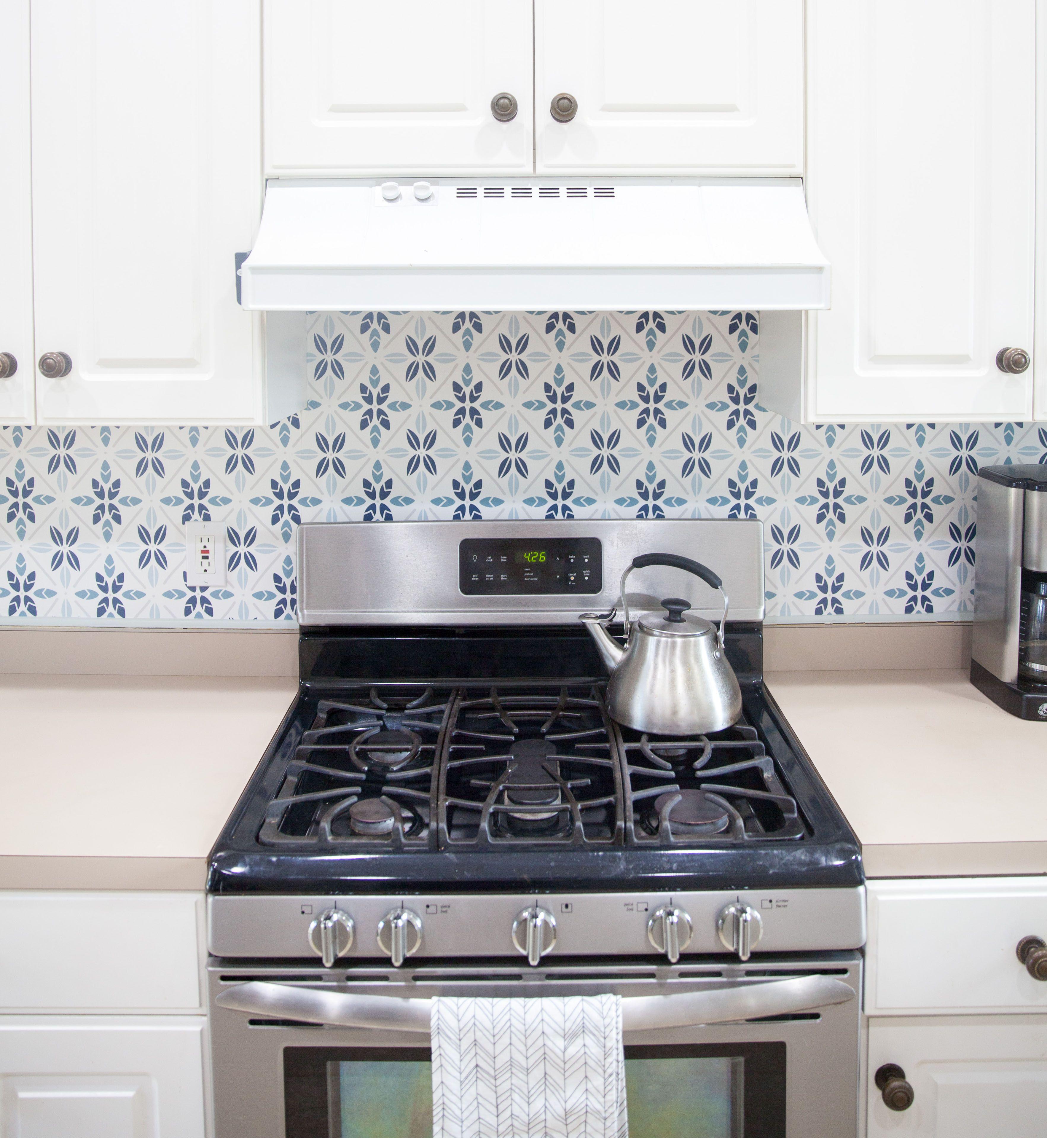 Easy Faux Tile Backsplash With Eco Friendly Wallpaper Diy Backsplash Backsplash Wallpaper Backsplash