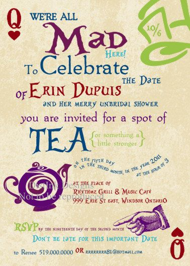 invitations to a mad hatter tea party bridal shower