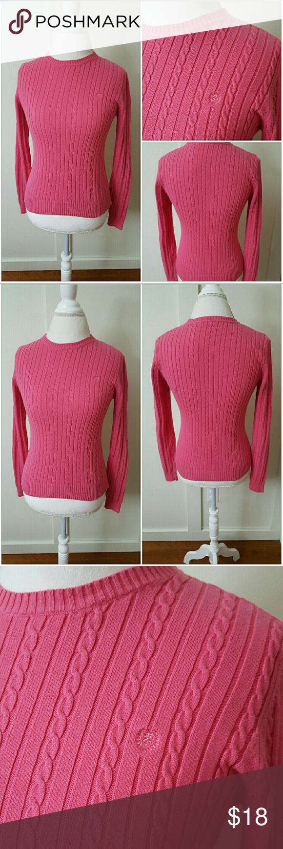 Izod Medium Pink Retro Cable Knit Sweater | Pink, Cable knit and Cable