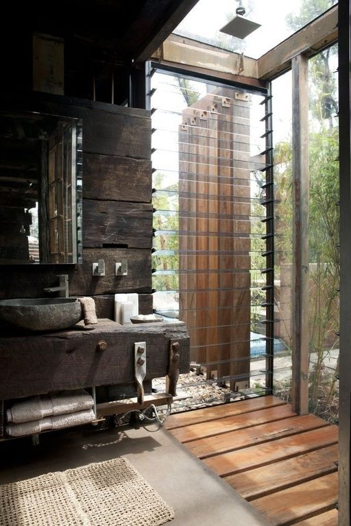 Rustic 3/4 Bathroom With Rain Shower, Vessel Sink, Wood Counters, Mosaic  Natural River Stone Vessel Sink   Brown Onyx