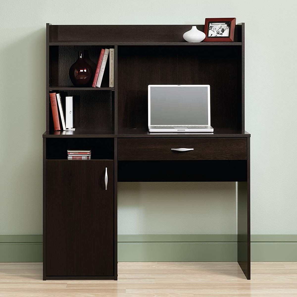 Desk With Hutch Cherry Finish Office Computer