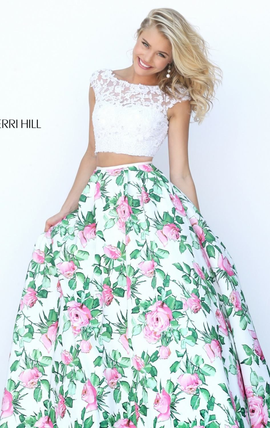 Sherri Hill 50492 Ivory Two Piece Floral Lace Prom Dress
