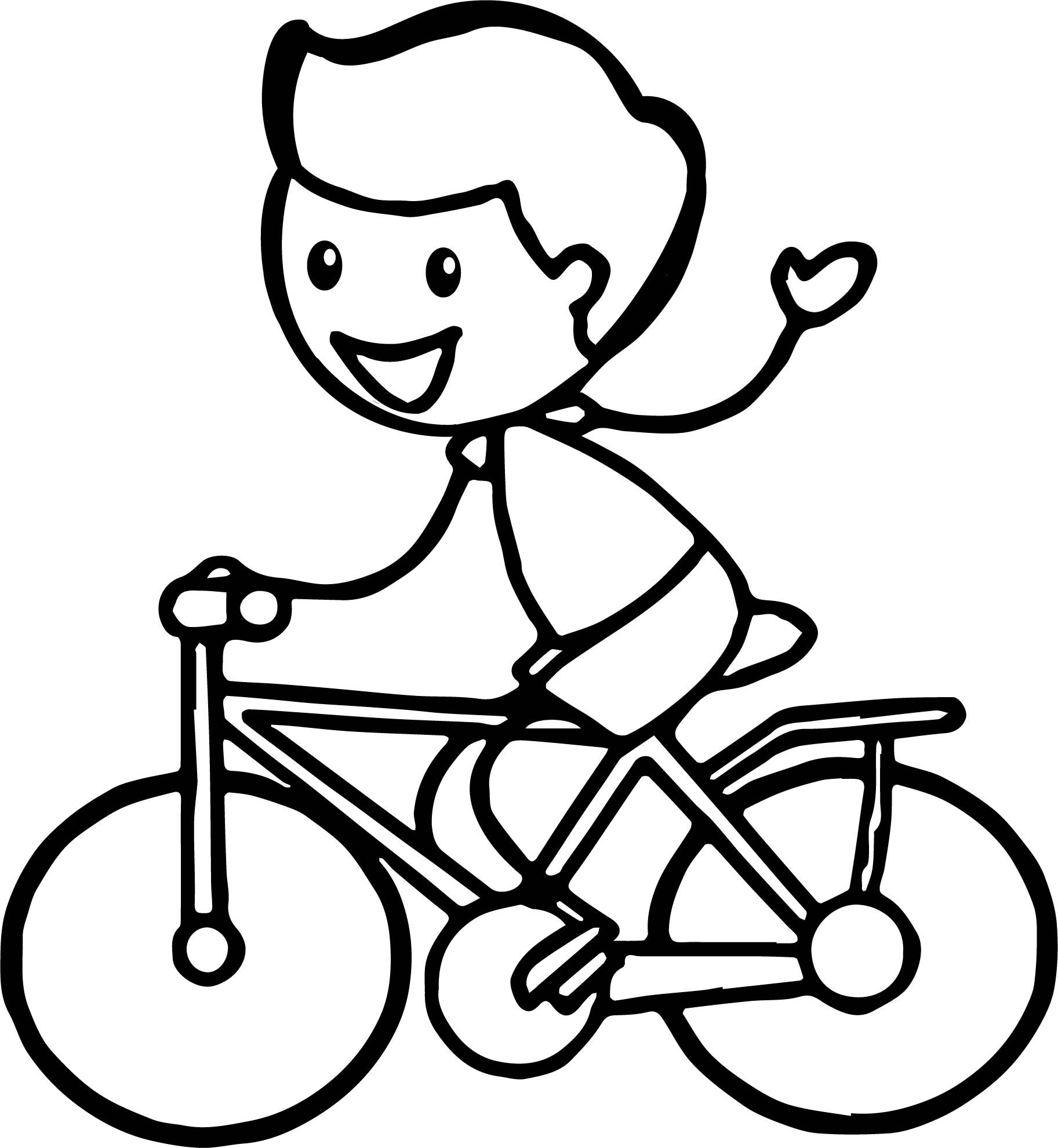 Nice Stick Figure Boy Cycling Riding Biycle Coloring Page
