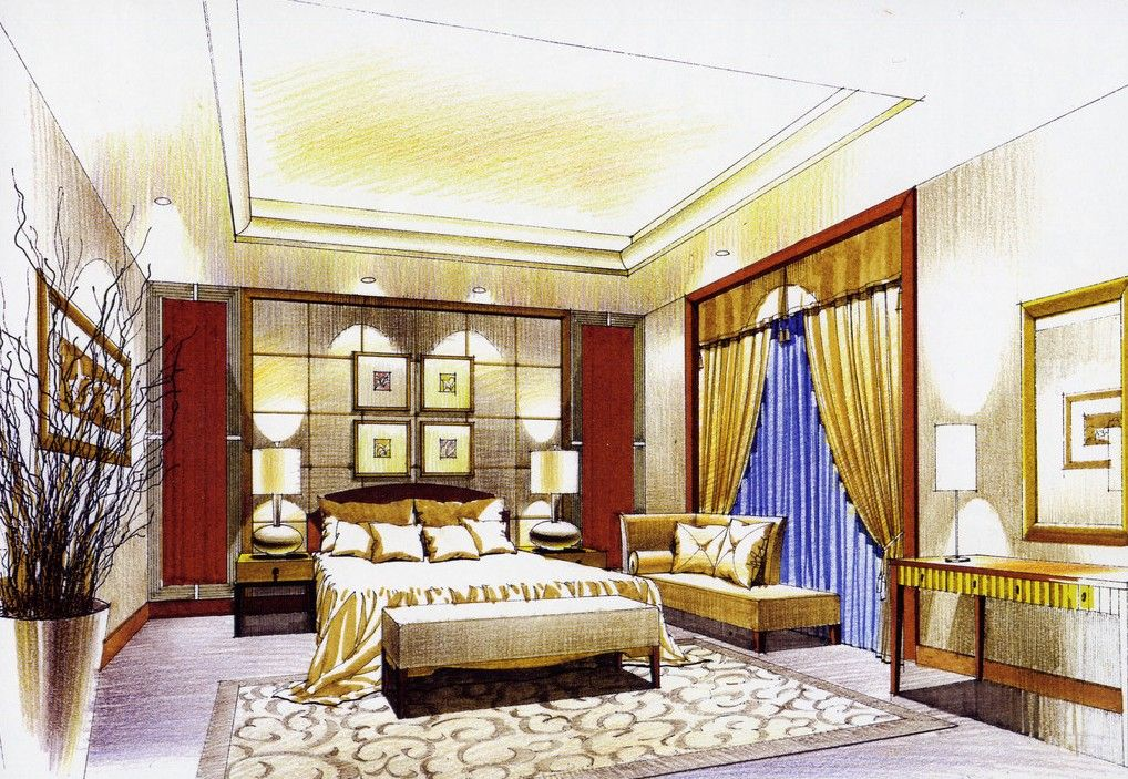 Bedroom interior design sketch sketches pinterest for Interior design sketches