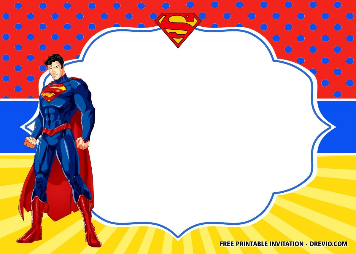 FREE Superhero Superman Birthday Invitation Templates – FREE