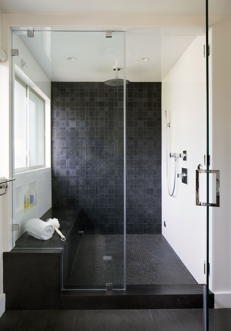 Master Bathroom Recycle Tile Black Tile Shower Interior Stairs