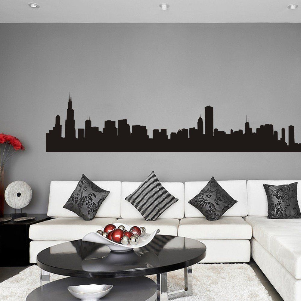 Vinyl Chicago Wall Decal Chicago City Wall Decor Chicago Skyline Wall Sticker Wall Mural Wall Wall Decor Living Room Room Wall Decor Living Room Wall [ 1000 x 1000 Pixel ]