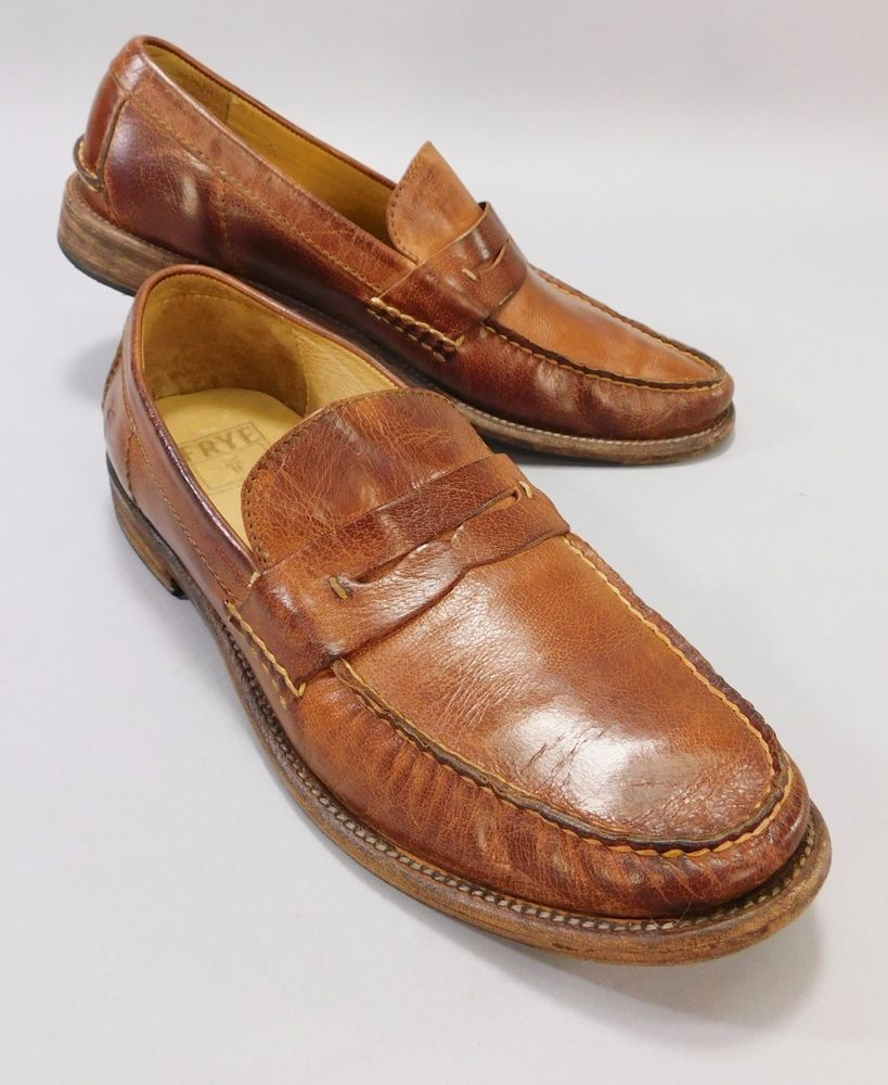 Men's Brown Leather Otis Penny Loafers by FRYE No. 80552 Size 9.5 #Frye #LoafersSlipOns