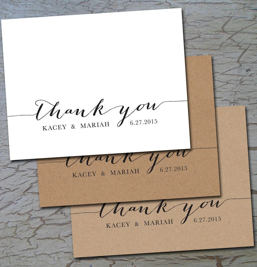 wedding thank you folded or flat cards notes postcards white or