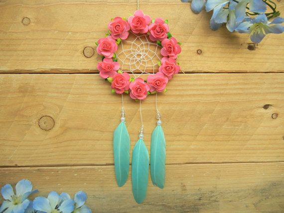 Pink Aqua Flower Dreamcatcher: Car Accessory by SarahDycePaintings