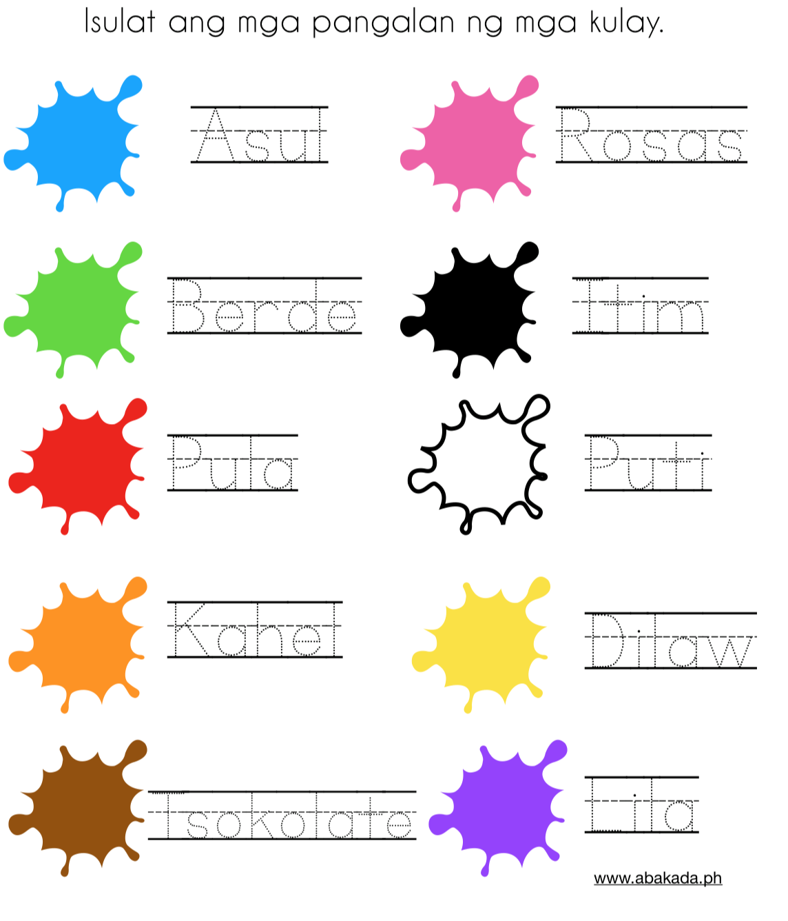 Free Colors Worksheet For Preschoolers