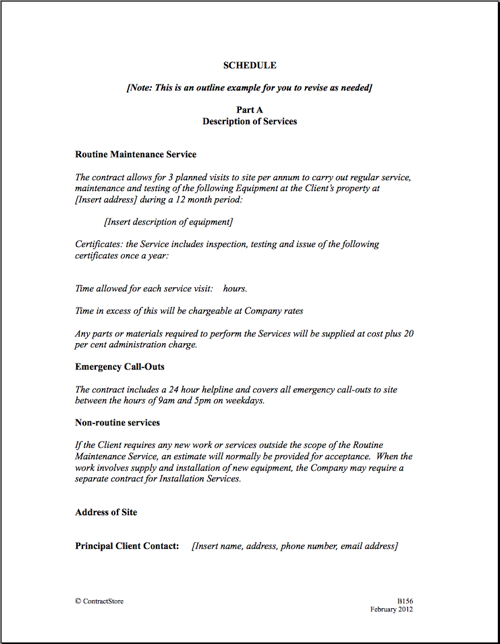 maintenance service agreement sample