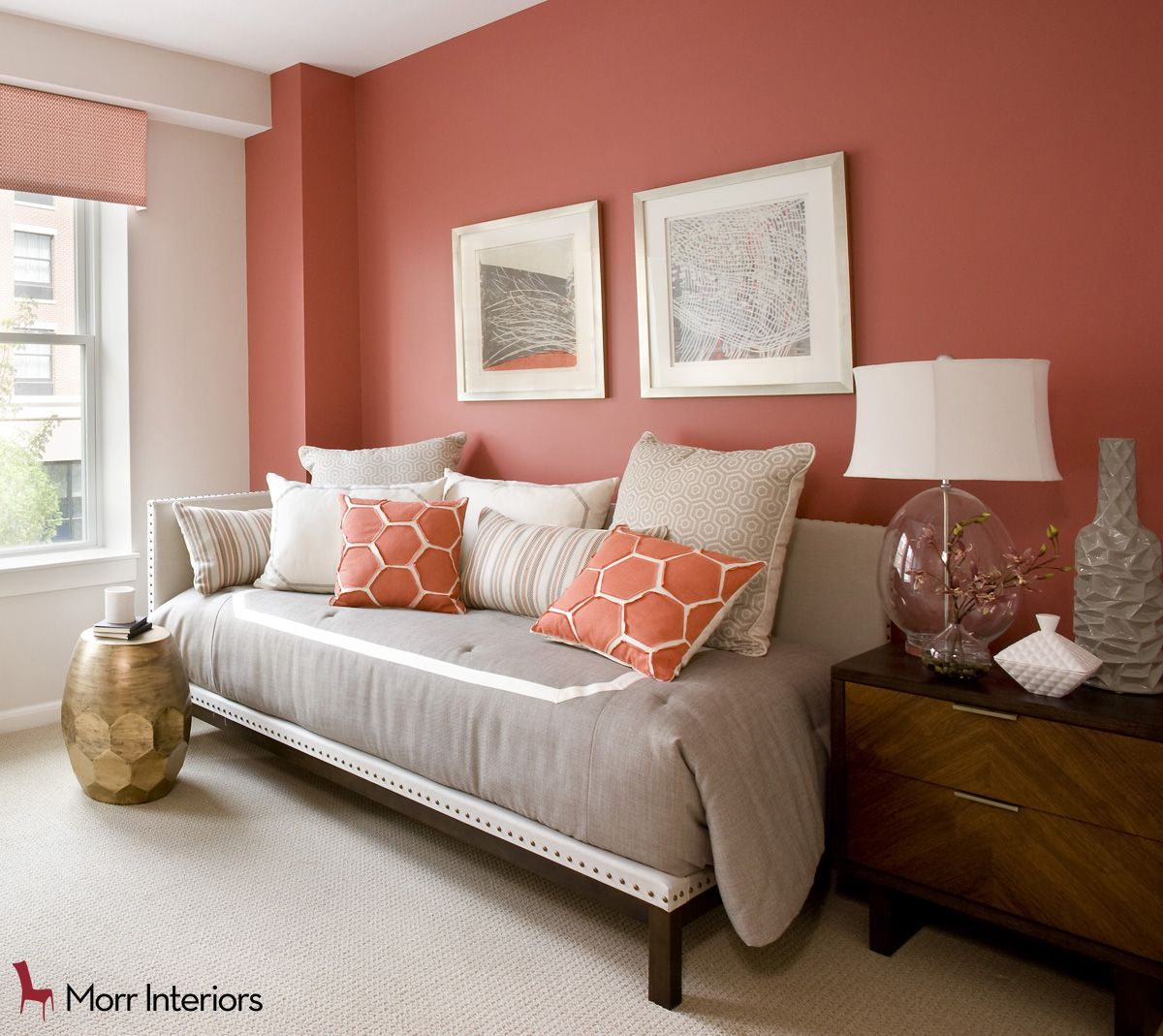 Aria At Portwalk Place   Portsmouth, NH Couch Detail #interiordesign #design  #designer #coral #livingroom #cozy