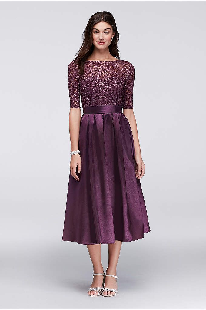 Stretch Lace Bridesmaid Dress with Godet Skirt - Davids Bridal ...
