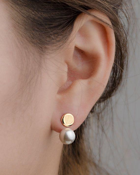 Weiße Perle Ohr Jacke-Tropfen Ohrstecker Ohrringe - Brautjungfer Geschenk - schwimmende Ohrringe - Ohrstecker Ohrringe-Braut Ohrringe - Perle Schmuck-EJK004WHP #pearljewelry
