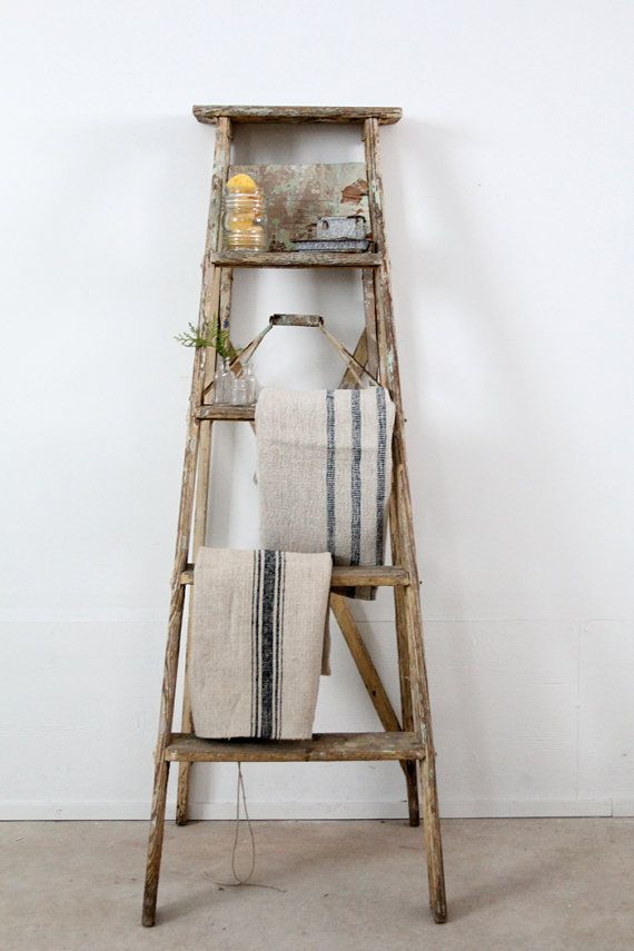 Antique Painter S Ladder Old Wood Ladder Etsy Old Wood Ladder Old Wooden Ladders Antique Ladder