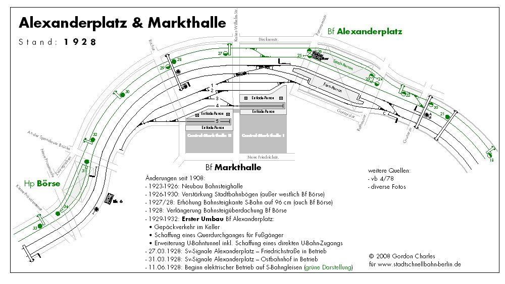 Berlin 1928 Alexanderplatz Und Markthalle Der Gleisplan Von 1928 Zeigt Die Umfangreichen Gleisanlagen Von Rund Um Den Bahnhof Alexand S Bahn Bahnhof Geschichte