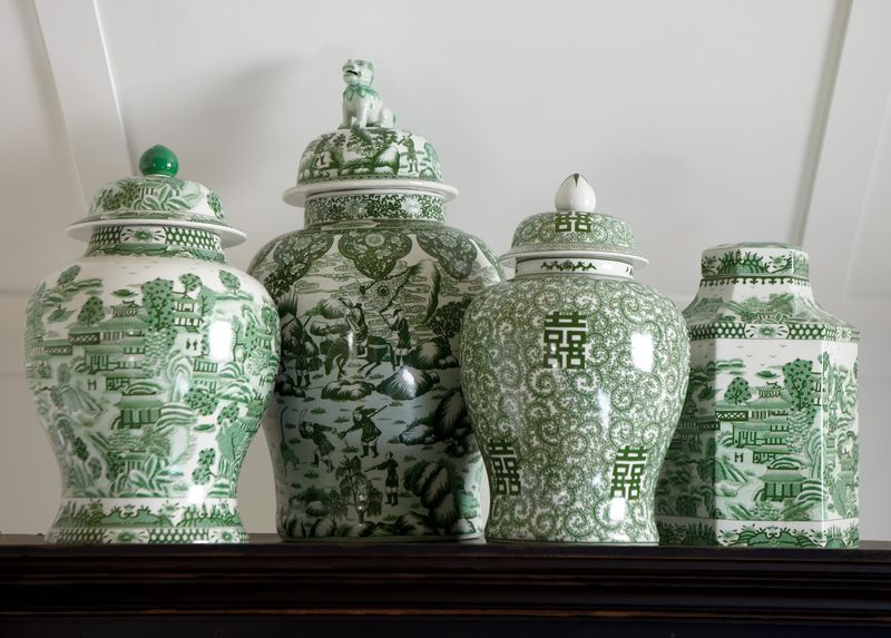 Green and White Hexagon Jar  Ethan Allen These green