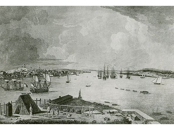 """""""The Town and Harbour of Halifax in Nova Scotia As it appears from George's Island looking up to the King's Yard and Bason,"""" from a drawing by Richard Short, 1759. Nova Scotia Archives - Ports and Harbours"""