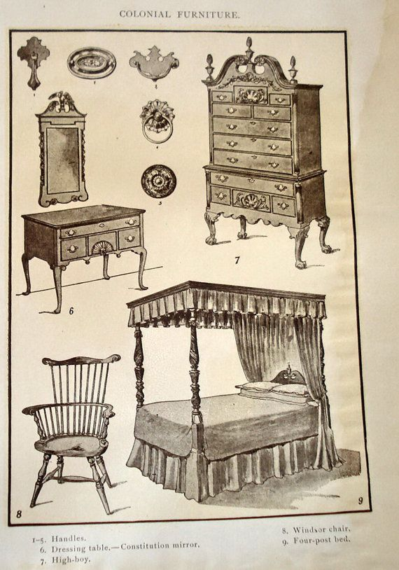 Antique Print Colonial Furniture Windsor Chair By Mushkavintage3