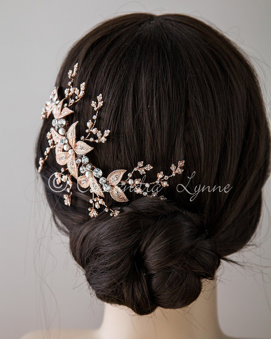 Rose Gold Bridal Headpiece with Ivory Pearls in Pretty