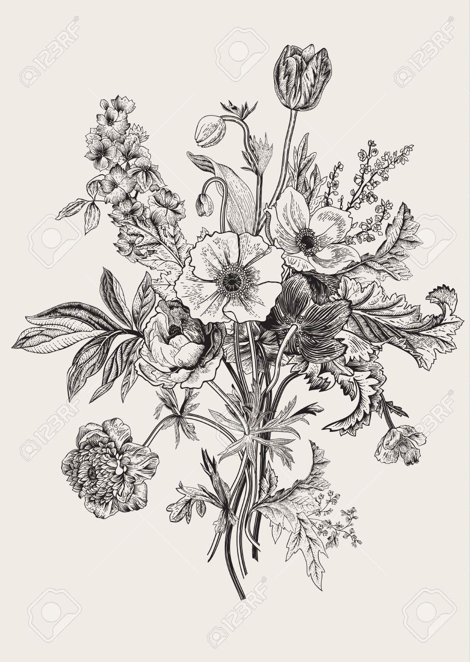 Botanical Victorian Bouquet Spring Flowers Poppy Anemones Tulips Delphinium Vintage Botanical Illustration Vintage Vintage Flower Tattoo Flower Drawing