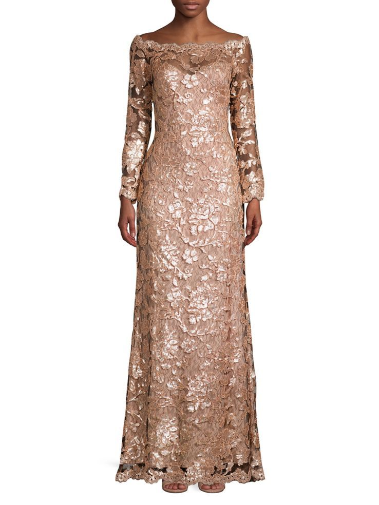 bd7470fe84fb Tadashi Shoji Sequined Lace Gown in 2019   Long Sleeve Dresses ...