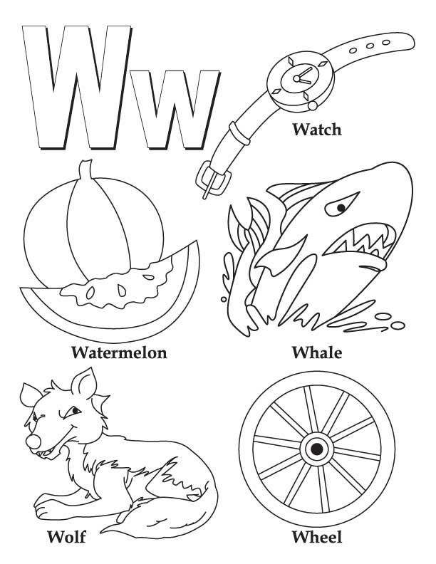 My a to z coloring book letter w coloring page