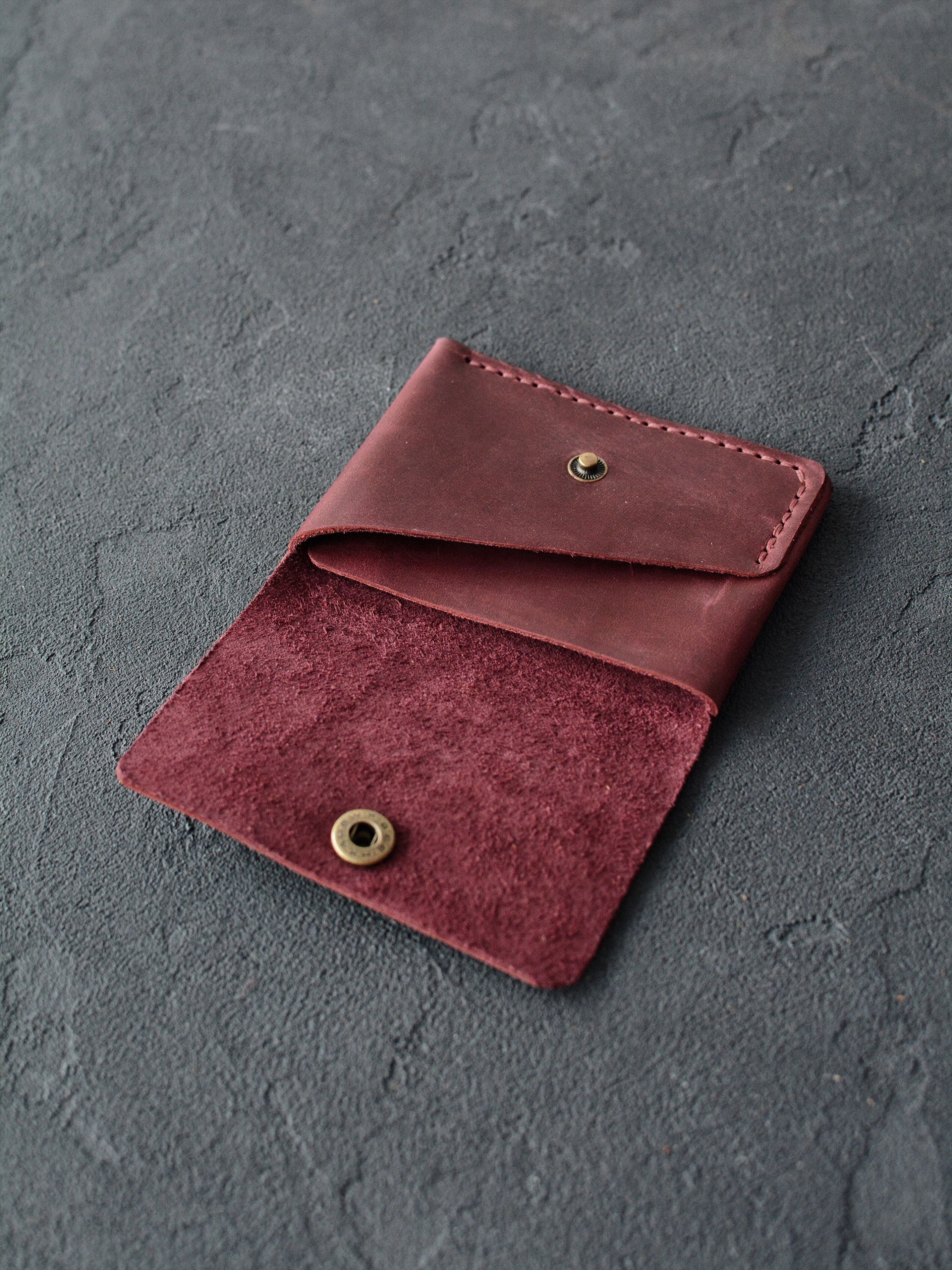 Leather wallet compact purse leather wallet leather