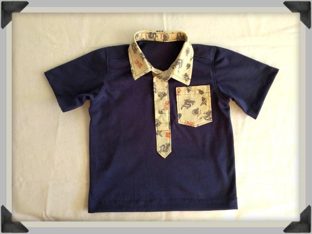 debaffea2 Toddler Polo Shirt, dragon print collar, navy blue shirt, polo shirt with  pocket by ByCatDesign on Etsy