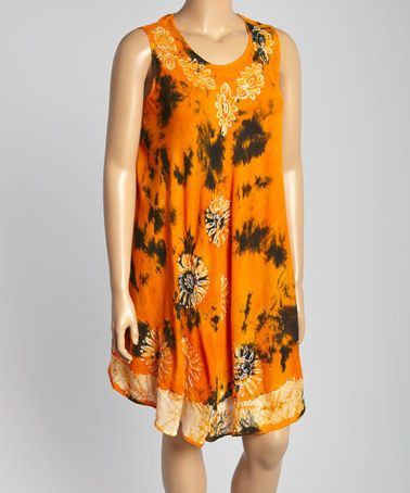 Another great find on #zulily! Orange Tie-Dye Scoop Neck Dress - Plus by Highness NYC #zulilyfinds