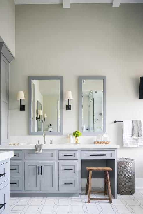 Steel Gray Vanity Mirrors Are Mounted On A Light Gray Wall