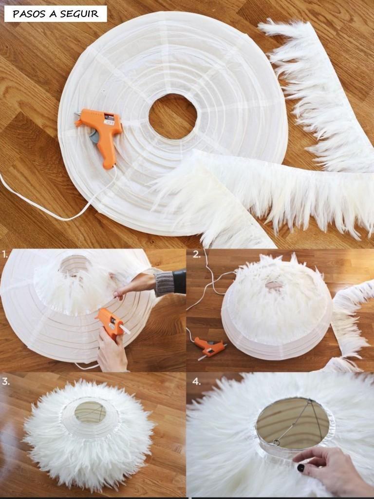 Diy lampara de plumas decoraci n pantallas de l mparas - Como hacer lamparas de techo artesanales ...